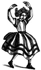 wood-engraving print: Olga Dancing for The Runaway